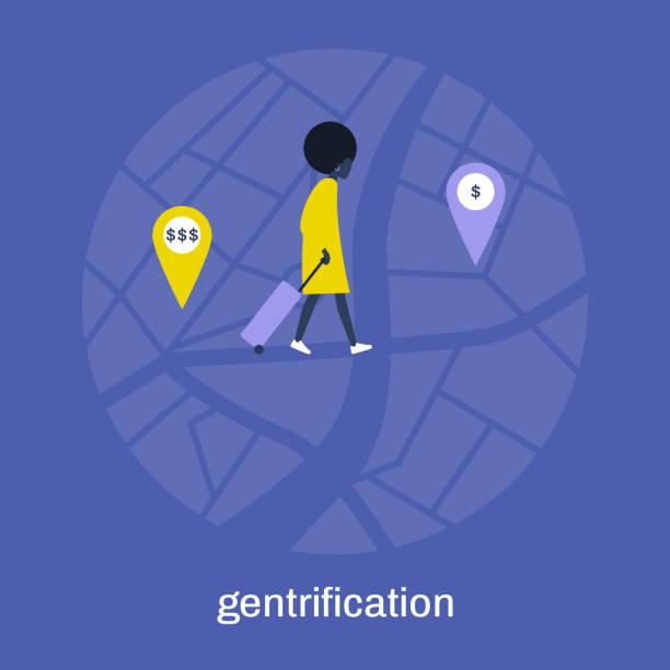 ilustraciones, imágenes clip art, dibujos animados e iconos de stock de gentrificación, joven personaje femenino negro moviéndose de un barrio a otro, ubicación más barata - civil rights