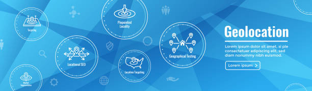geo location targeting with gps positioning and geolocation icon set web header banner - wayfinding icons stock illustrations, clip art, cartoons, & icons