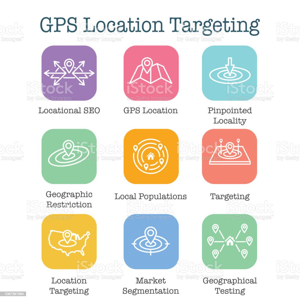 Geo Location Targeting with GPS Positioning and Geolocation Icon Set vector art illustration