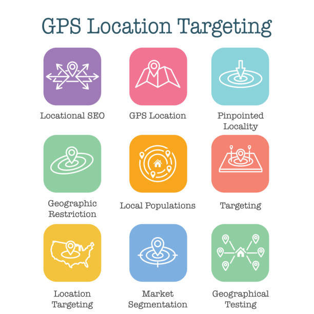 geo location targeting with gps positioning and geolocation icon set - wayfinding icons stock illustrations, clip art, cartoons, & icons