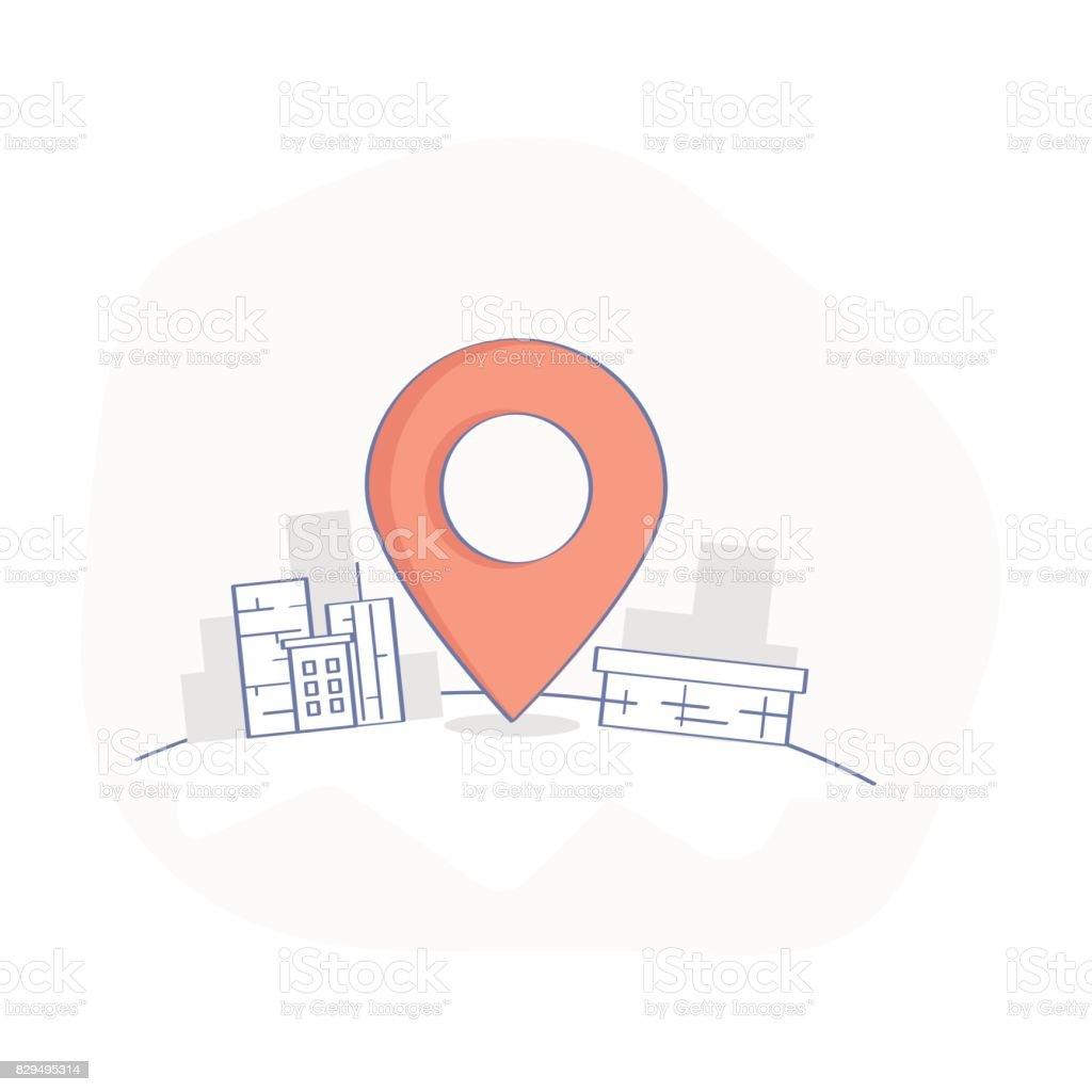 Geo mapa Pin, entrega servicio o localización GPS punto - ilustración de arte vectorial