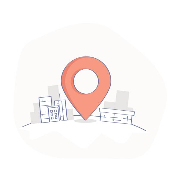 geo map pin, delivery service or gps location point - landmarks stock illustrations
