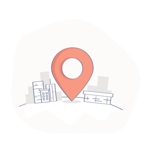 geo map pin, lieferservice oder gps-position punkt - sehenswürdigkeit stock-grafiken, -clipart, -cartoons und -symbole