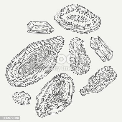 A collection of geodes and rocks in an overhead view. Global colours, easy to remove background.