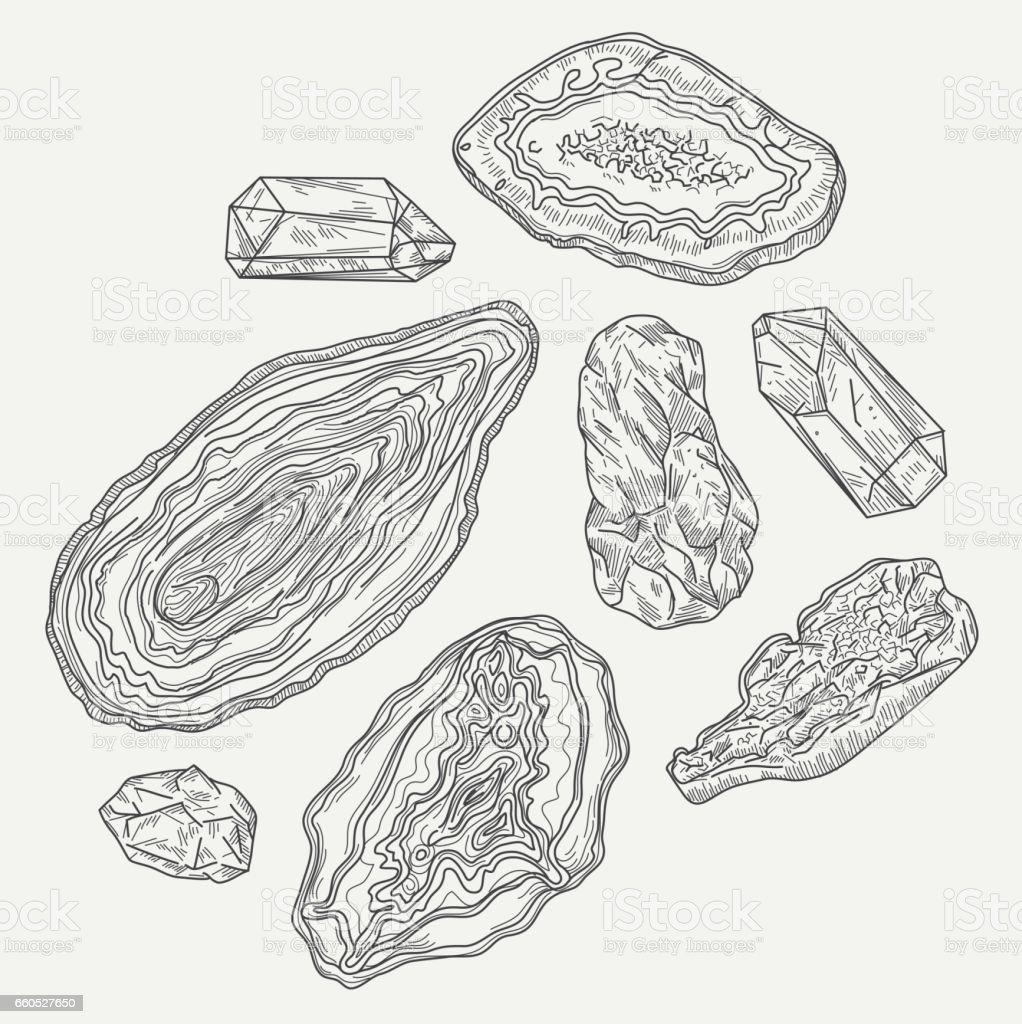Geodes, Gems and Rocks vector art illustration