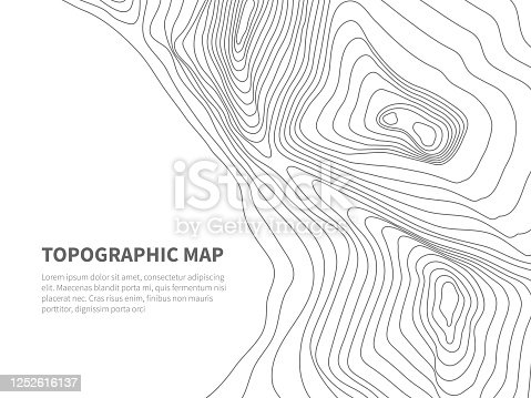 Geodesy contouring land. Topographical line map. Geographic mountain contours vector background. Topography and cartography mountain landscape contour illustration
