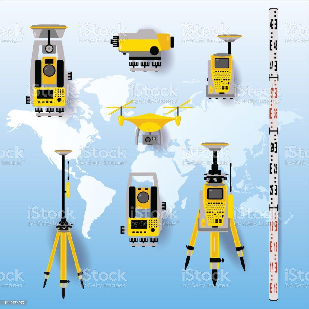 Geodetic equipment vector illustration. Measuring instruments in flat...
