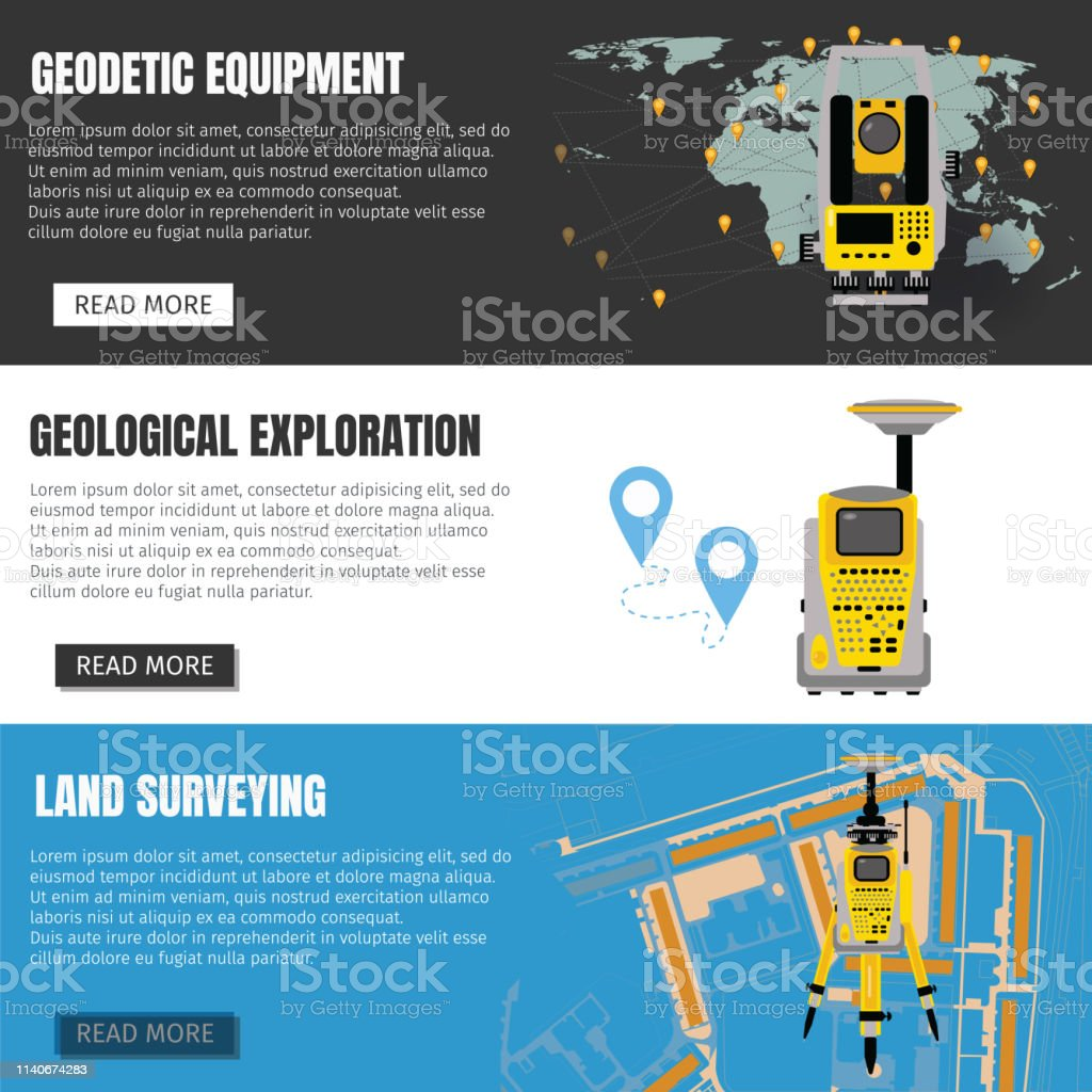 Geodetic measuring equipment banner set, engineering technology for...