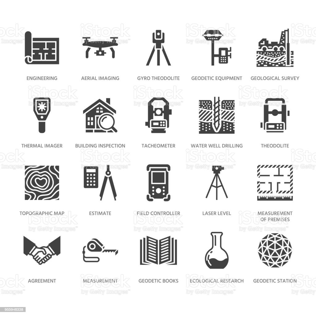Geodetic survey engineering vector flat glyph icons. Geodesy equipment, tacheometer, theodolite. Geological research, building measurements. Construction signs. Solid silhouette pixel perfect 64x64 royalty-free geodetic survey engineering vector flat glyph icons geodesy equipment tacheometer theodolite geological research building measurements construction signs solid silhouette pixel perfect 64x64 stock illustration - download image now