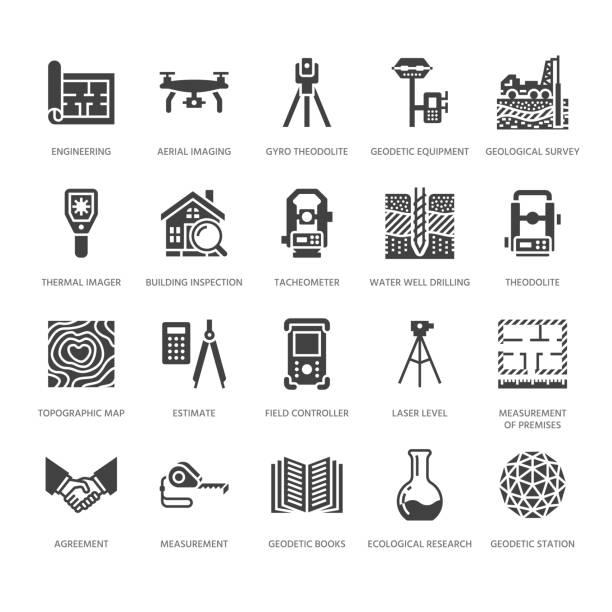 bildbanksillustrationer, clip art samt tecknat material och ikoner med geodetic survey engineering vector platt glyph ikoner. geodesi utrustning, tacheometer, teodolit. geologisk forskning, bygga mätningar. konstruktion tecken. solid siluett pixel perfekt 64 x 64 - geologi