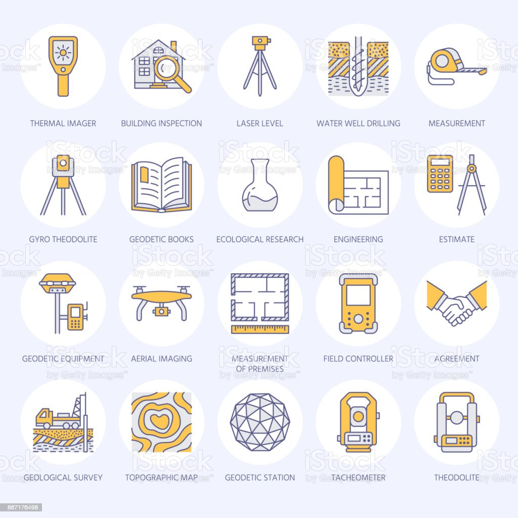 Geodetic survey engineering vector flat line colored icons. Geodesy equipment, tacheometer, tripod. Geological research, building measurement inspection illustration. Construction service signs royalty-free geodetic survey engineering vector flat line colored icons geodesy equipment tacheometer tripod geological research building measurement inspection illustration construction service signs stock illustration - download image now