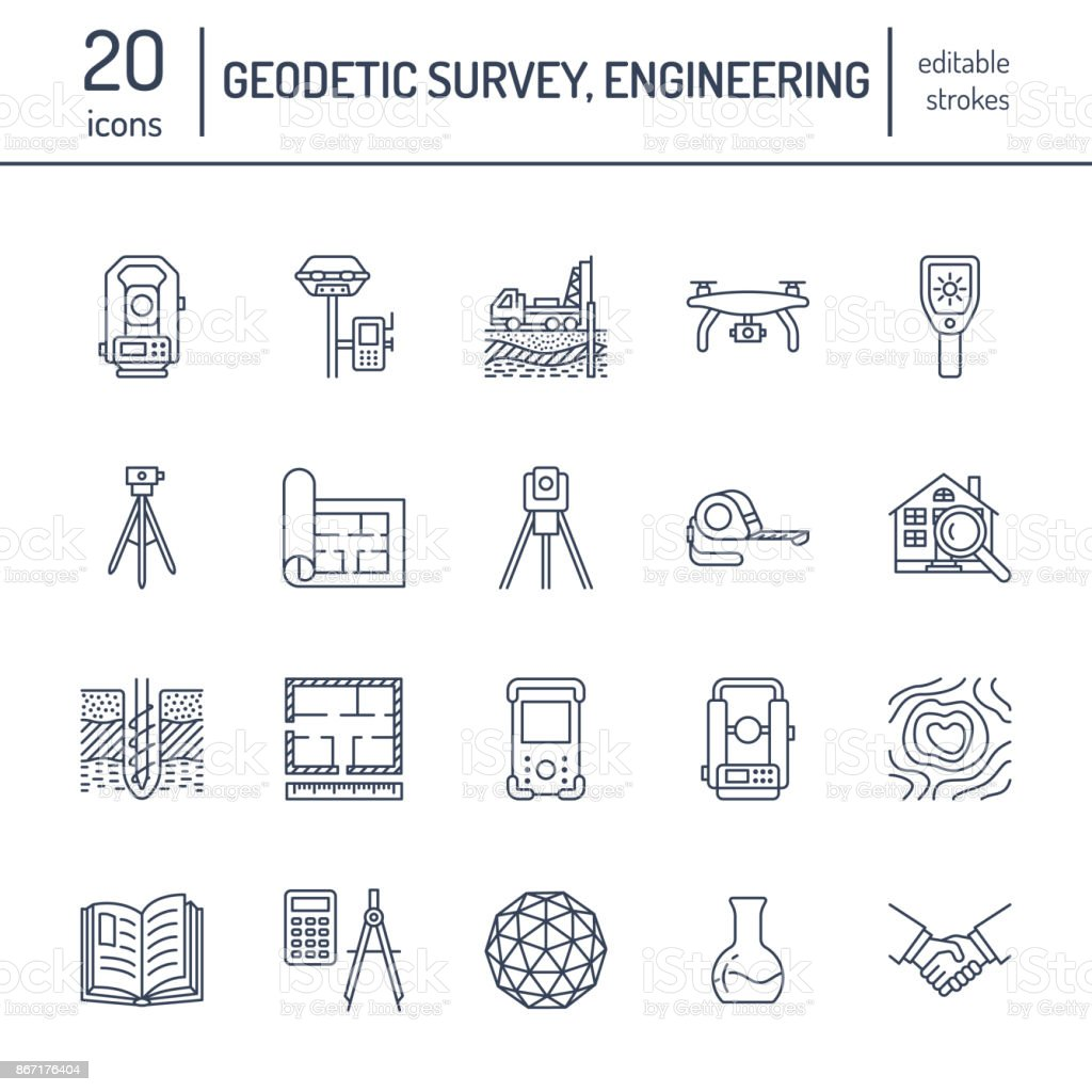 Geodetic survey engineering vector flat line icons. Geodesy equipment, tacheometer, theodolite, tripod. Geological research, building measurement inspection illustration. Construction service signs royalty-free geodetic survey engineering vector flat line icons geodesy equipment tacheometer theodolite tripod geological research building measurement inspection illustration construction service signs stock illustration - download image now