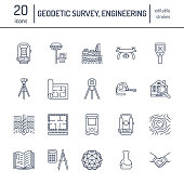 Geodetic survey engineering vector flat line icons. Geodesy equipment, tacheometer, theodolite, tripod. Geological research, building measurement inspection illustration. Construction service signs