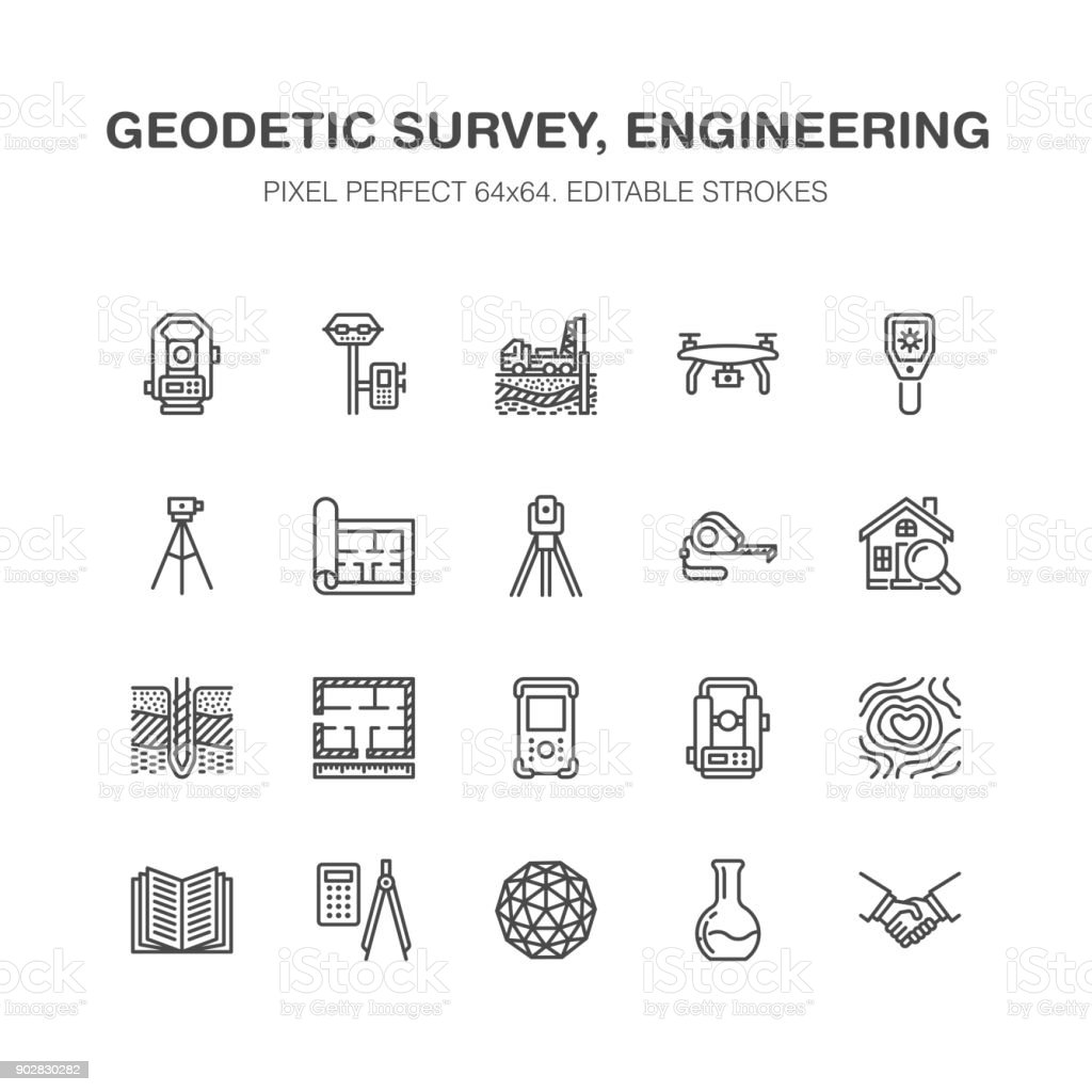 Geodetic survey engineering vector flat line icons. Geodesy equipment, tacheometer, theodolite, tripod. Geological research, building measurements. Construction service signs. Pixel perfect 64x64 royalty-free geodetic survey engineering vector flat line icons geodesy equipment tacheometer theodolite tripod geological research building measurements construction service signs pixel perfect 64x64 stock illustration - download image now