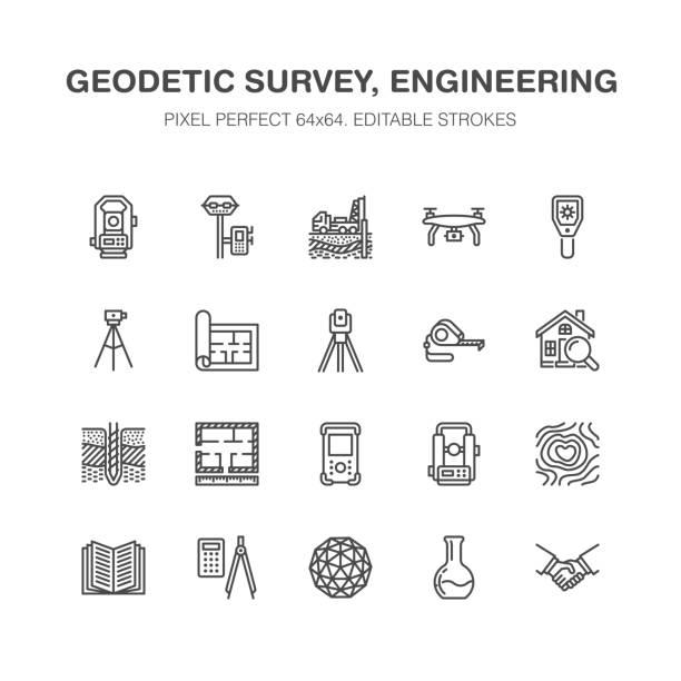 bildbanksillustrationer, clip art samt tecknat material och ikoner med geodetic survey engineering vector platt linje ikoner. geodesi utrustning, tacheometer, teodolit, stativ. geologisk forskning, bygga mätningar. konstruktion service tecken. pixel perfekt 64 x 64 - geologi