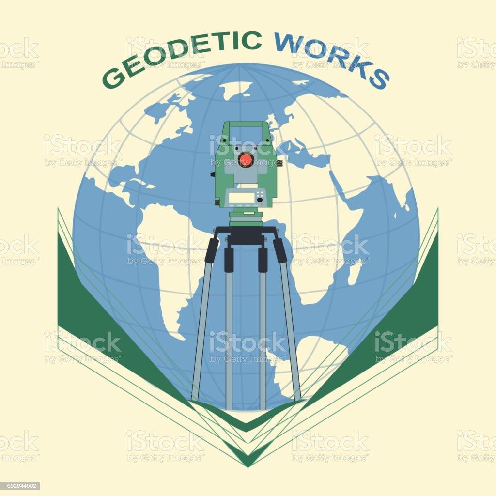 Travaux géodésiques - Illustration vectorielle