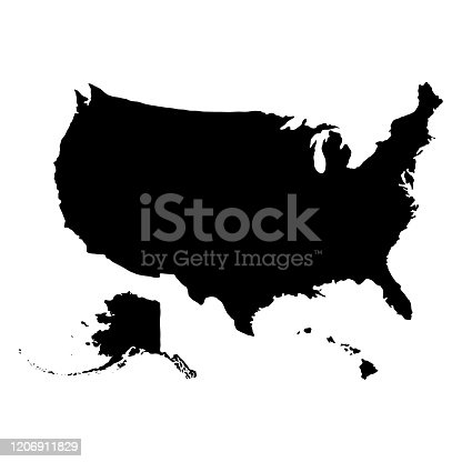 USA geographic map with Alaska and Hawaii isolated on white background. Flat, vector illustration.