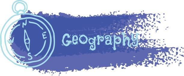 """ilustrações, clipart, desenhos animados e ícones de """"geografia"""". bússola sobre um fundo azul na forma da pincelada. vector - orientador escolar"""