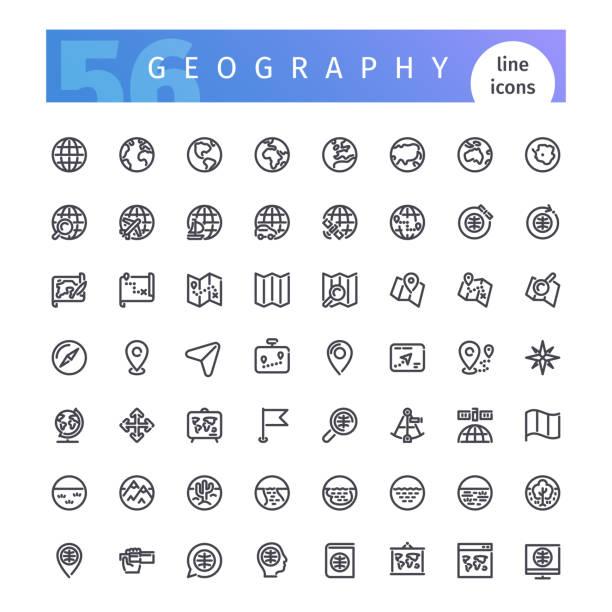 ilustrações de stock, clip art, desenhos animados e ícones de geography line icons set - sextante