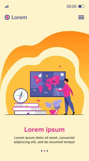 ilustrações de stock, clip art, desenhos animados e ícones de geography teacher in class - teacher school solo