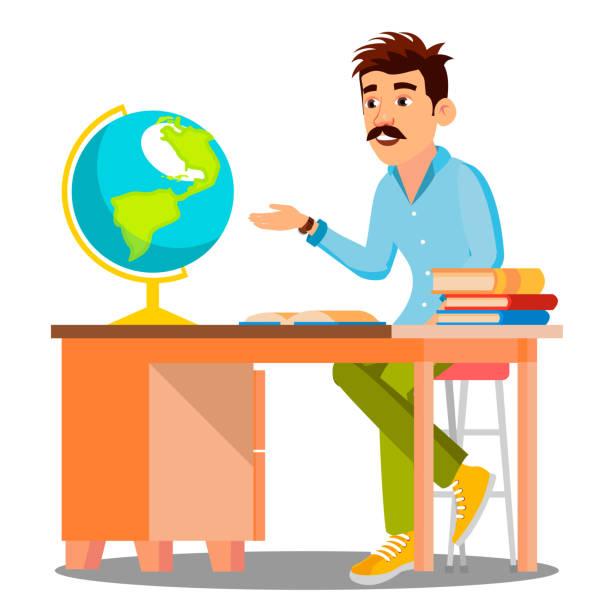 ilustrações de stock, clip art, desenhos animados e ícones de geography teacher in glasses sitting at table with books and globe vector. isolated illustration - teacher school solo