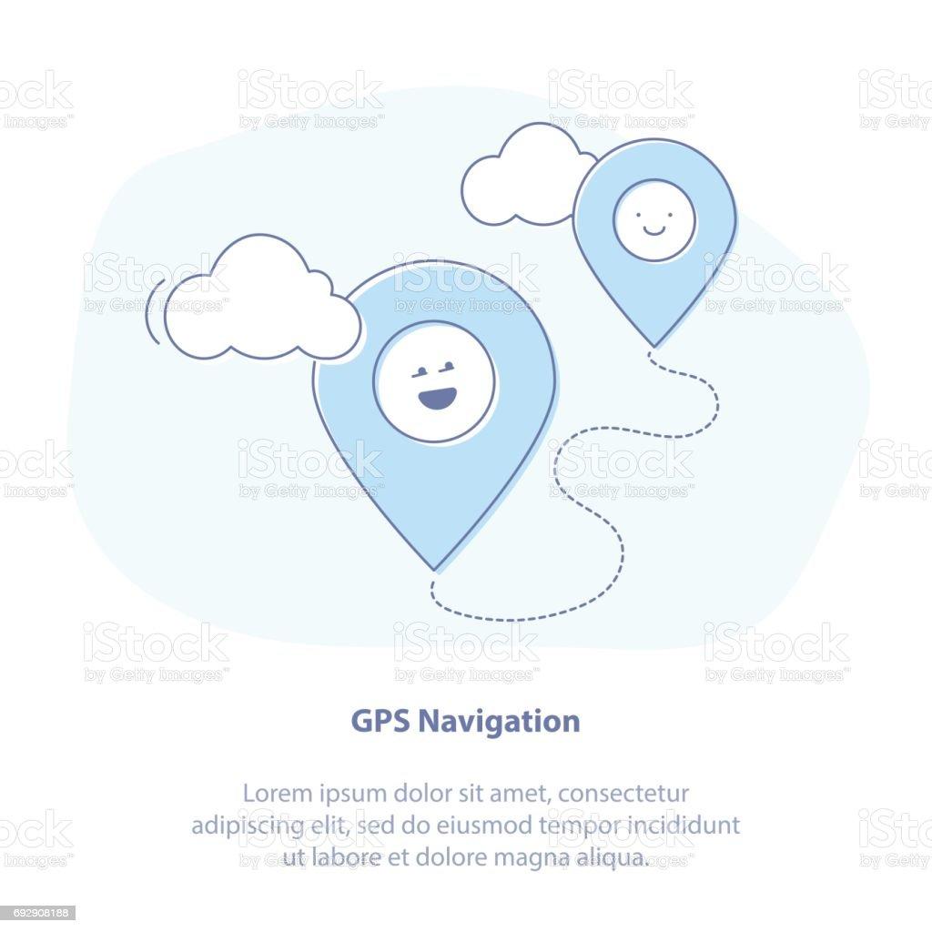 Geolocation, GPS navigation pin vector art illustration
