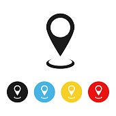 Geolocation icon on a white background. Geolocation icon in colorful circles. Illustration