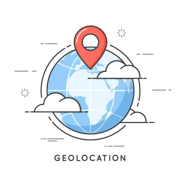 stockillustraties, clipart, cartoons en iconen met geolocation. locatie pin, navigatie, lokale seo. platte lijn kunst stijl concept. vector banner, icoon, illustratie bewerkbare beroerte - fysische geografie