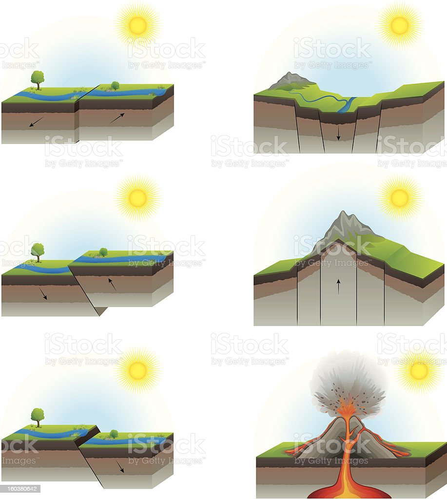 Geological Faults of Tectonic Plates and Volcano vector art illustration
