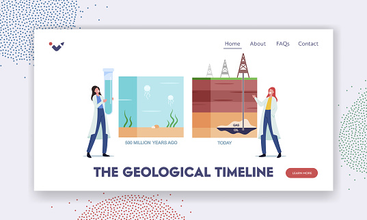 Geological Timeline Landing Page Template. Scientist Female Characters Presenting Oil or Gas Natural Formation Tint Line