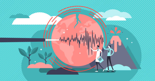 Geology vector illustration. Flat tiny volcano earthquake persons concept. Geology vector illustration. Flat tiny volcano earthquake persons concept. Signal technology study to predict nature disasters. Scientists gathering instrument data. Seismic activity and lava eruption earthquake stock illustrations