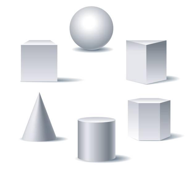 ilustrações de stock, clip art, desenhos animados e ícones de geometric 3d figures - cilindro formas geométricas