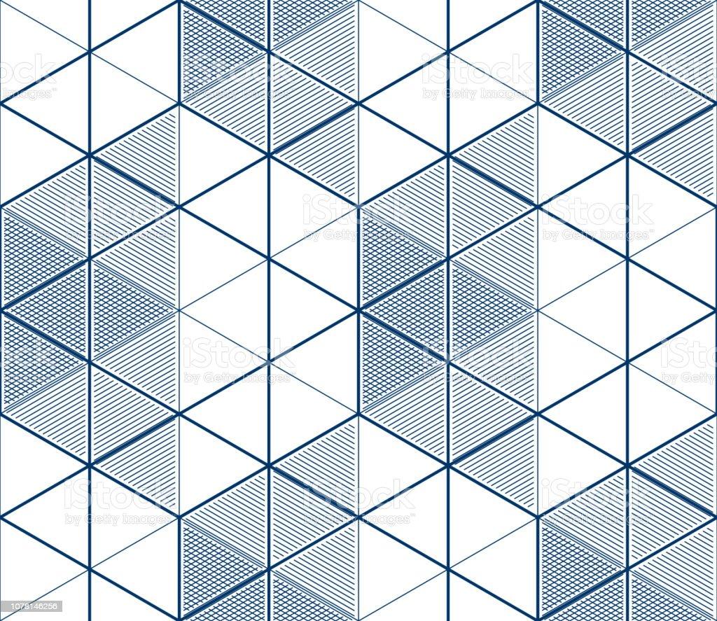 e44eb6bda5a Líneas 3d geométricas Resumen de patrones sin fisuras, vector de fondo.  Estilo de tecnología