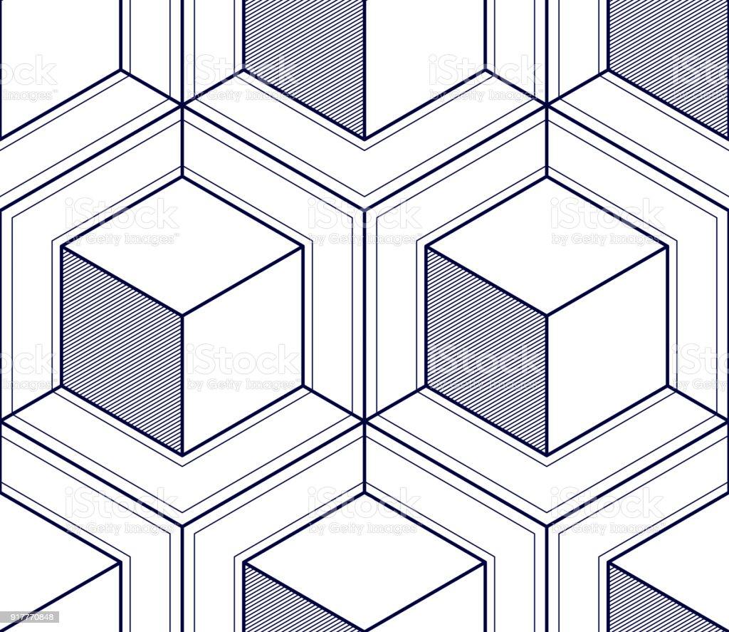 Des Lignes Geometriques 3d Abstrait Modele Sans Couture Vector
