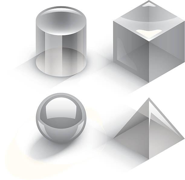 Geometric 3D shapes vector art illustration