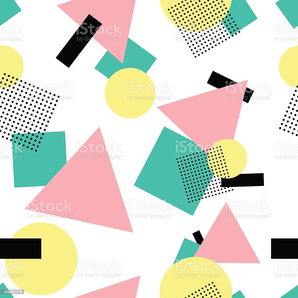 Geometric 80s fashion style seamless pattern vector art illustration