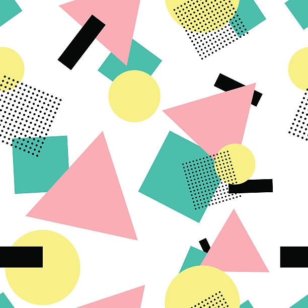 Geometric 80s fashion style seamless pattern vector art illustration