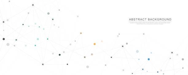 연결 점과 선으로 기하학적 추상 배경입니다. 분자 구조 및 통신 개념입니다. 디지털 기술 배경 및 네트워크 연결입니다. - 수다 stock illustrations