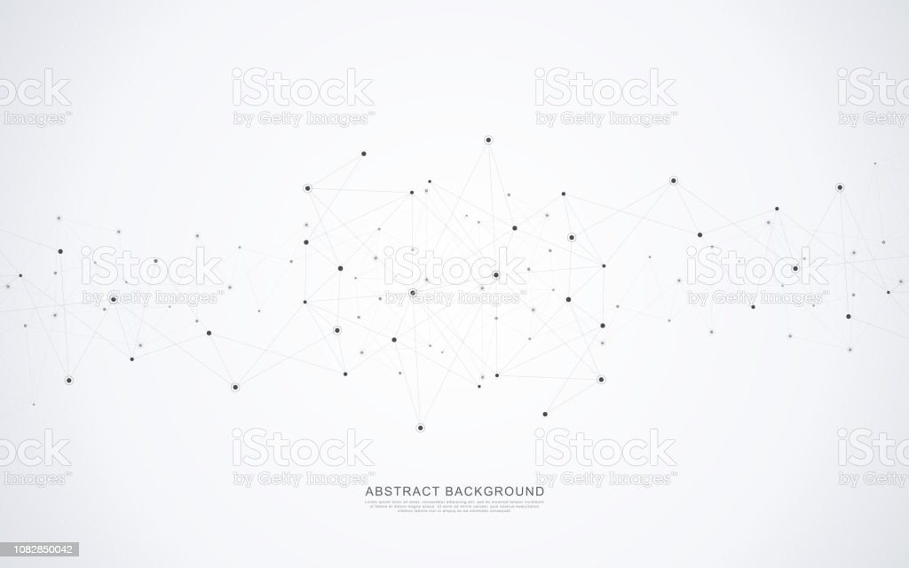 Geometric abstract background with connected dots and lines. Molecular structure and communication concept. Digital technology background and network connection. royalty-free geometric abstract background with connected dots and lines molecular structure and communication concept digital technology background and network connection stock illustration - download image now