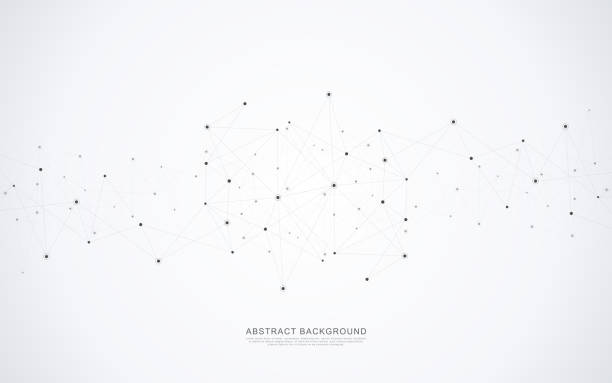 Geometric abstract background with connected dots and lines. Molecular structure and communication concept. Digital technology background and network connection. Geometric abstract background with connected dots and lines. Molecular structure and communication concept. Digital technology background and network connection two dimensional shape stock illustrations