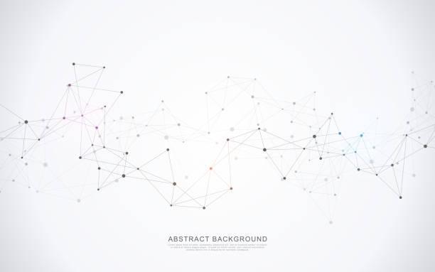 接続点と線と幾何学的な抽象的な背景。分子構造とコミュニケーション コンセプトです。デジタル技術の背景とネットワーク接続。 - image点のイラスト素材/クリップアート素材/マンガ素材/アイコン素材