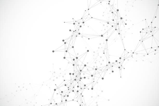 Geometrischer abstrakter Hintergrund mit verbundener Linie und Punkten. Netzwerk- und Verbindungshintergrund für Ihre Präsentation. Grafischer polygonaler Hintergrund. Wellenfluss. Wissenschaftliche Vektor-Illustration. – Vektorgrafik