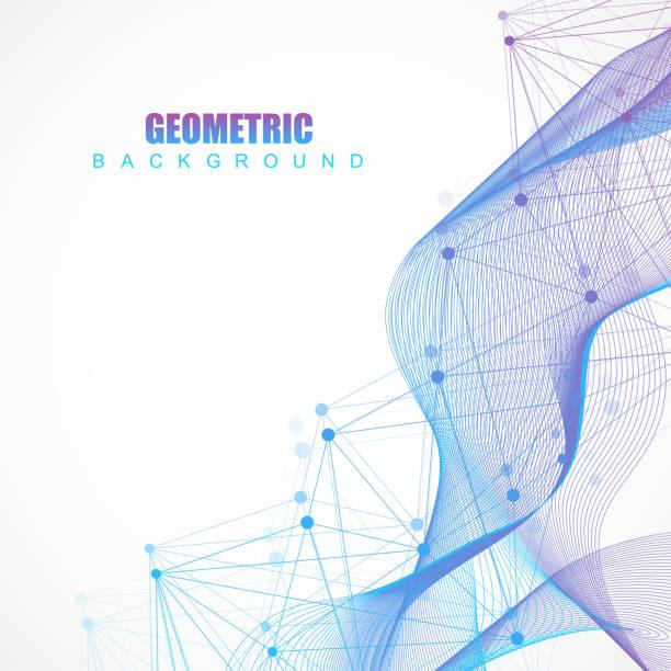 接続回線とドットの幾何学的な抽象的な背景。構造分子と通信します。あなたの設計のための科学的概念。医療、技術、科学の背景。ベクトル図 - 医学研究点のイラスト素材/クリップアート素材/マンガ素材/アイコン素材