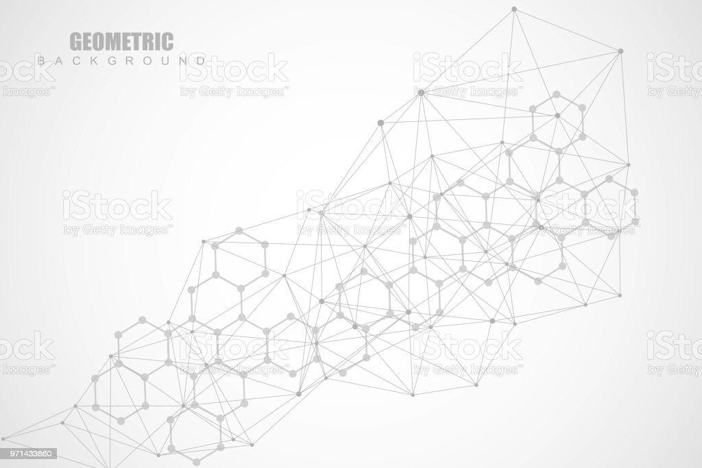 Geometric abstract background with connected line and dots. Structure molecule and communication. Scientific concept for your design. Medical, technology, science background. Vector illustration vector art illustration