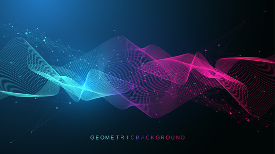 Geometric abstract background with connected lines and dots. Connectivity flow point. Molecule and communication background. Graphic connection background for your design. Vector illustration.