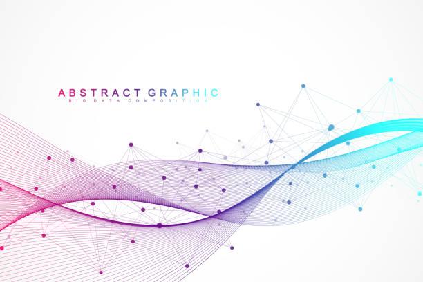 bildbanksillustrationer, clip art samt tecknat material och ikoner med geometriska abstrakt bakgrund med anslutna linjer och punkter. wave flöde. molekyl och kommunikation bakgrund. grafisk bakgrund för din design. vektorillustration - kontinuitet