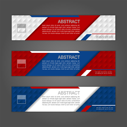 Geometric abstract banner background with Russia flag colors. Three colors concept for Russia 2018.