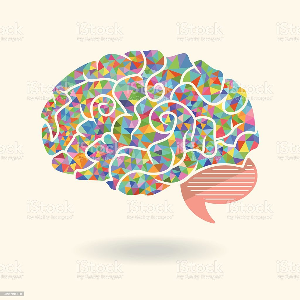 Geometric Abstract Brain stock vector art 468768118 | iStock