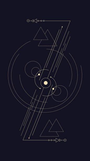 geometrische, abstrakte komposition mit alchemistischen zeichen und symbole der planeten, elemente und metalle. eine vorlage für ein tattoo. zeichnung für plakate, broschüren, drucken. vektor - aerial overview soil stock-grafiken, -clipart, -cartoons und -symbole