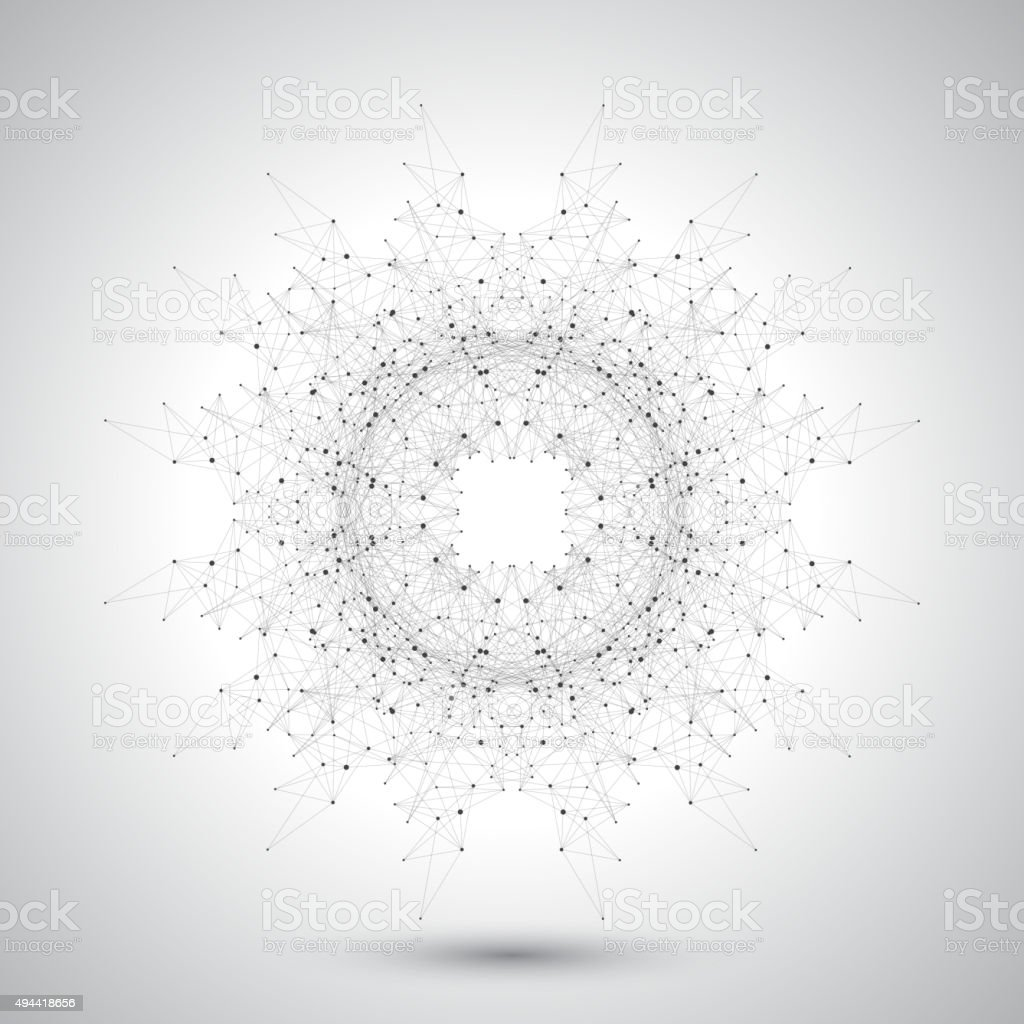 Geometric abstract form with connected lines and dots. Futuristic technology vector art illustration